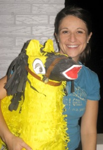 Courtney travels with her own piñata.