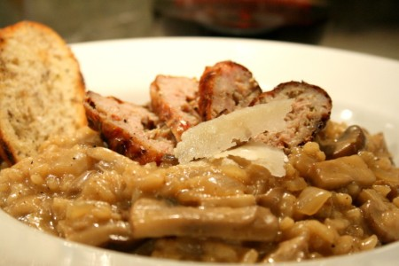 Wild Mushroom Risotto with Chicken Sausage