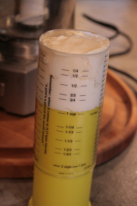 These cylinder measuring cups are great for measuring thick creamy stuff - no digging it would with a spoon!